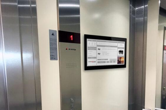 Digitale Haustafel in Fahrstühlen, Liften von doohmedia.ch