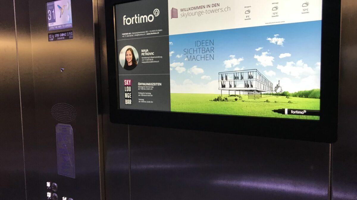 Infoscreens Lift für fortimo